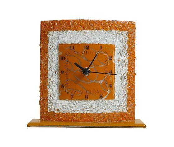 Orologio vetro tavolo quadrato arabesco arancione