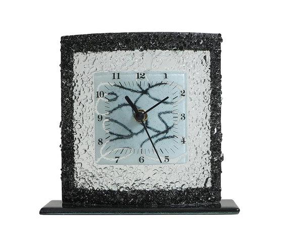 Orologio vetro tavolo quadrato arabesco bianco nero