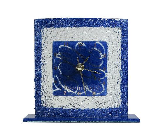 Orologio vetro tavolo quadrato arabesco blu
