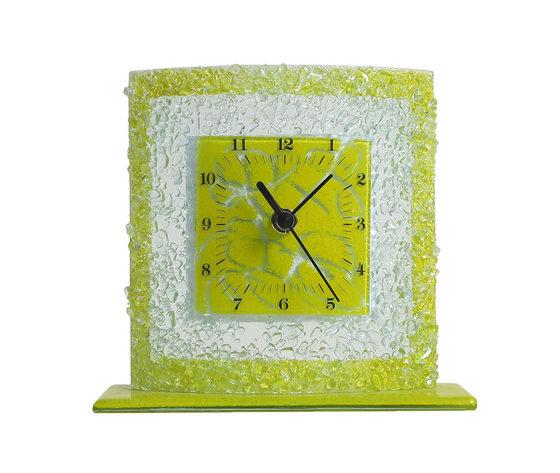 Orologio vetro tavolo quadrato arabesco giallo