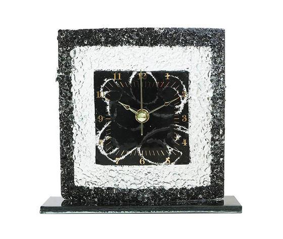 Orologio vetro tavolo quadrato arabesco nero