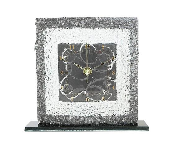 Orologio vetro tavolo quadrato arabesco grigio