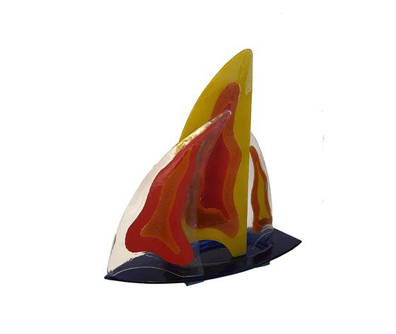Veliero vetro giallo rosso 2