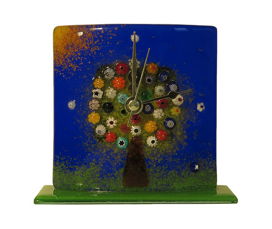 Orologio vetro murano albero della vita tavolo blu