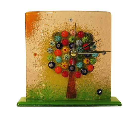 Orologio vetro murano albero della vita tavolo viola