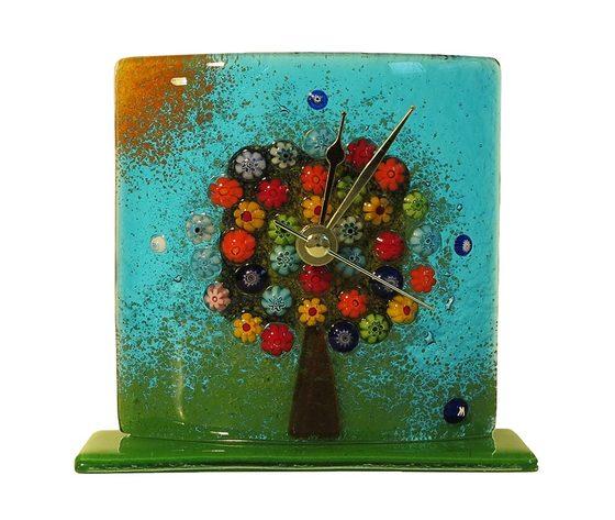 Orologio vetro murano albero della vita tavolo azzurro