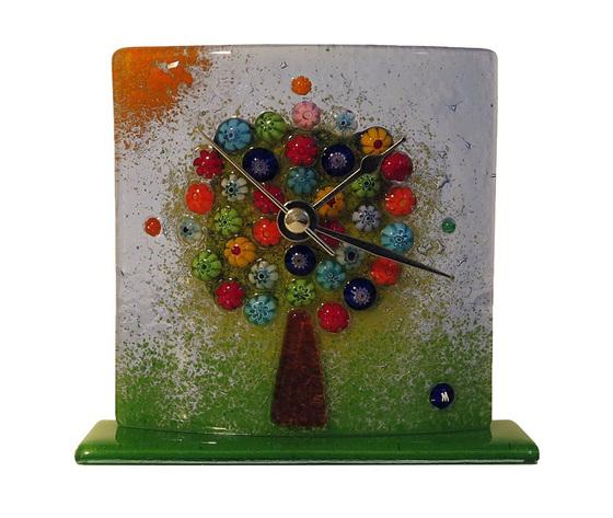 Orologio vetro murano albero della vita tavolo bluino