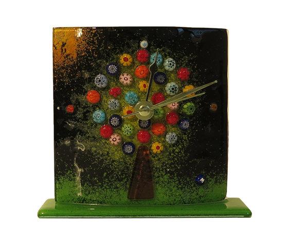 Orologio vetro murano albero della vita tavolo nero