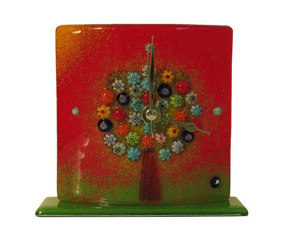 Orologio vetro murano albero della vita tavolo rosso