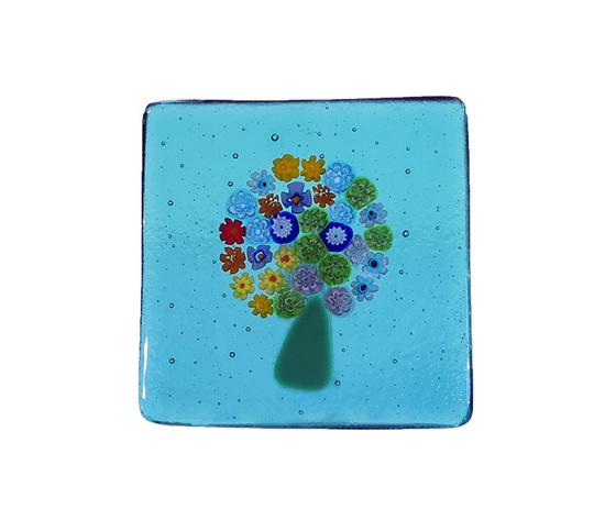 Piatto vetro murano albero murrine azzurro