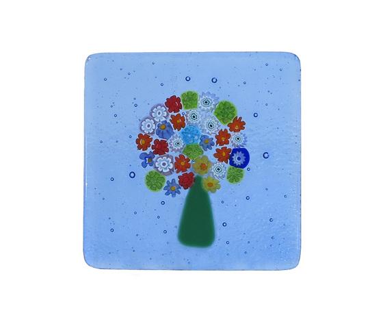 Piatto vetro murano albero murrine bluino