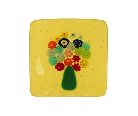Piatto vetro murano albero murrine giallo