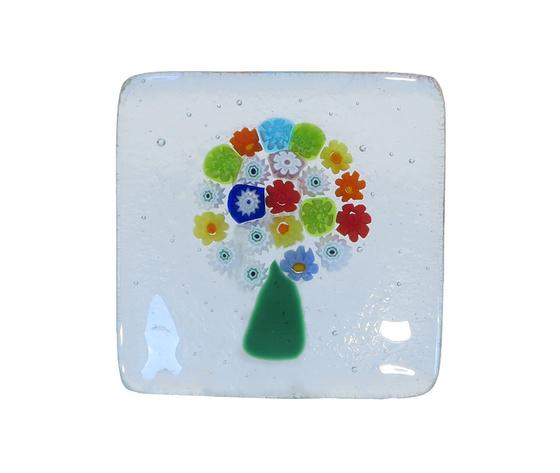 Piatto vetro murano albero murrine trasparente