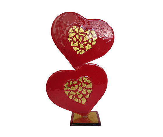 Scultura cuore doppio vetro murano rosso oro