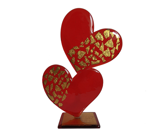 Scultura cuore doppio vetro murano mezzo oro rosso