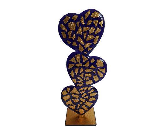 Scultura cuore triplo vetro murano blu oro