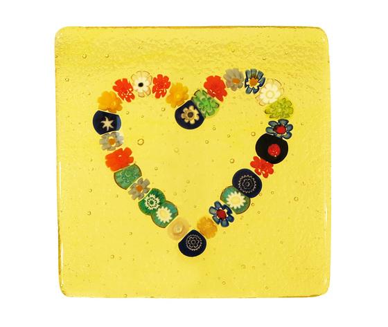 Piatto vetro murano cuore murrine quadrato giallo
