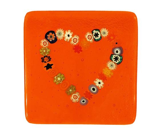 Piatto vetro murano cuore murrine quadrato arancione