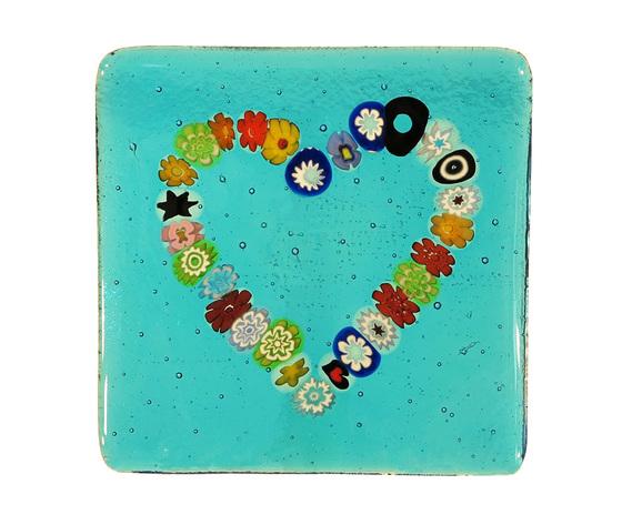 Piatto vetro murano cuore murrine quadrato azzurro