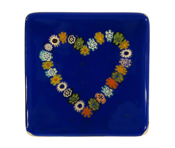 Piatto vetro murano cuore murrine quadrato blu