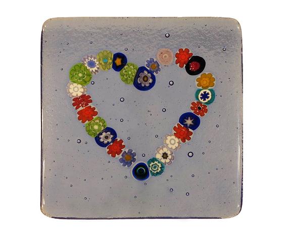Piatto vetro murano cuore murrine quadrato bluino