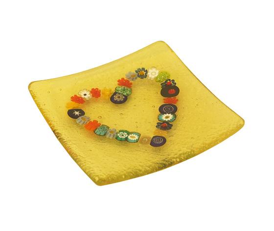 Piatto vetro murano cuore murrine quadrato giallo orizzontale