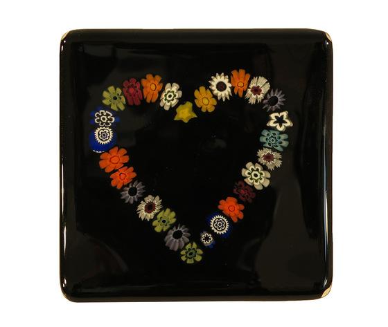 Piatto vetro murano cuore murrine quadrato nero