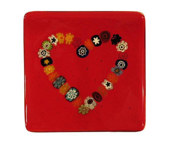 Piatto vetro murano cuore murrine quadrato rosso