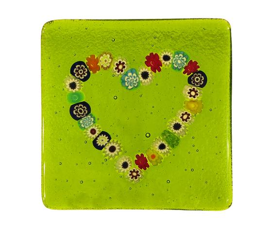 Piatto vetro murano cuore murrine quadrato verde