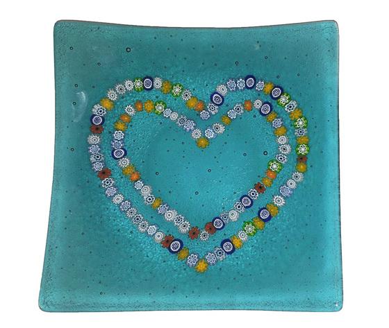 Piatto vetro murano cuori murrine azzurro