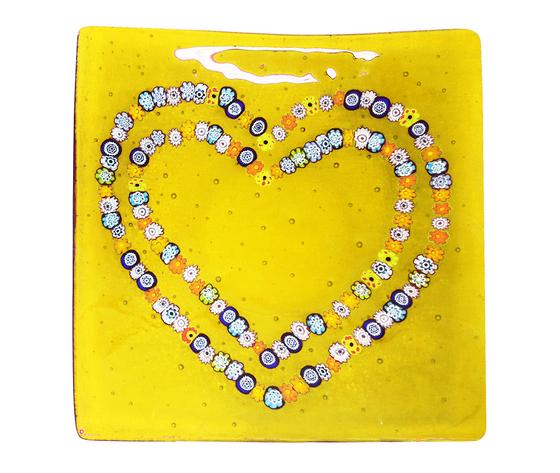 Piatto vetro murano cuori murrine giallo