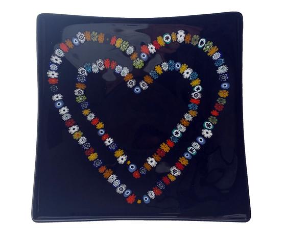 Piatto vetro quadrato cuori murrine nero