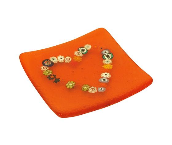 Piatto vetro murano cuore murrine quadrato arancione orizzontale