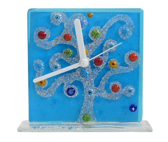 Orologio vetro murano albero klimt azzurro