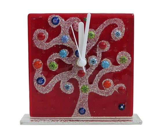 Orologio vetro murano albero klimt rosso