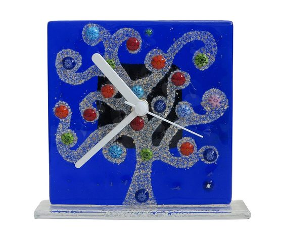 Orologio vetro murano albero klimt blu