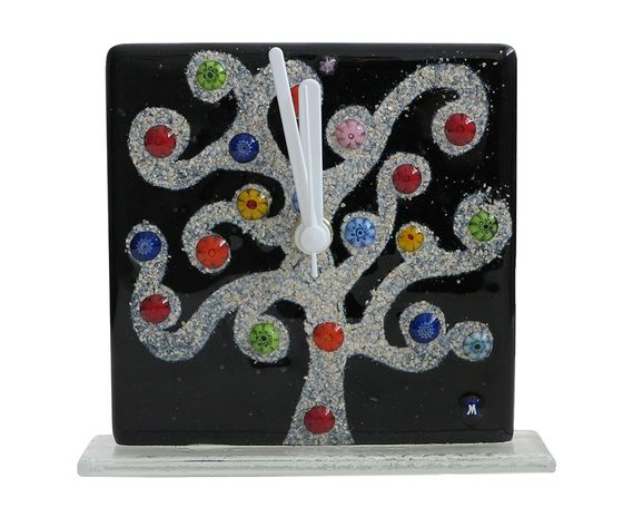 Orologio vetro murano albero klimt nero