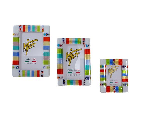 Portafoto rettangolare vetro multicolor bianco tris
