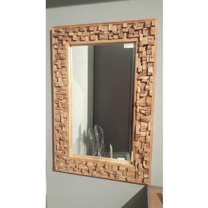 specchio con cornice in legno e sughero