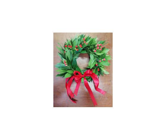 Coroncina alloro con bacche di ipericum e nastro rosso di raso
