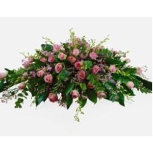 Cuscino funebre rosa e lilla