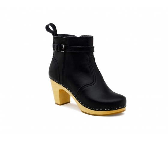 Swedish Hasbeens High heelen Jodhpur black/nature sole. nero /suola legno