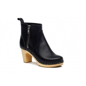 Swedish Hasbeens Zip it Super high black/nature sole. nero /suola legno