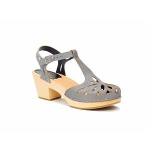 Swedish Hasbeens Lacy sandal,dark grey Nubuk, suola naturale /Nature Sole