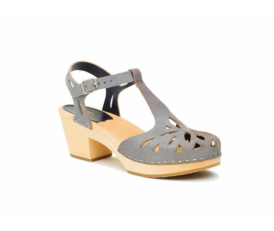 Swedish Hasbeens Lacy sandal,dark grey Nubuk, suola naturale /Nature Sole