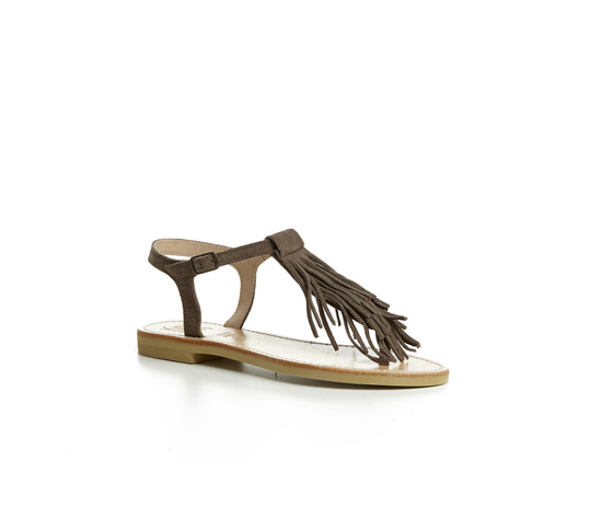 Sandalo infradito Calì Tortora con frangie