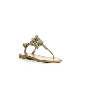 Sandalo infradito Calì oro, Gold, con fiore