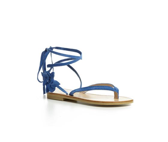 Sandalo infradito Calì. colore Blu Elettric con laccio alla caviglia