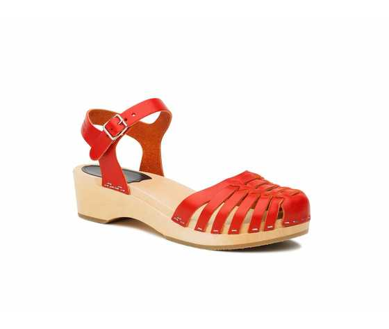 Swedish Hasbeens Snake Debutant, Red, rossi, con suola naturale/Nature Sole