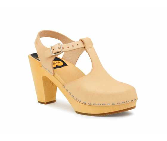 Swedish Hasbeens T-Strap Sky High, Nature, color naturale, suola naturale/Natural Sole